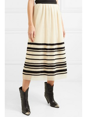Red Valentino pleated striped tulle midi skirt