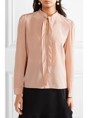 Red Valentino pussy-bow washed-silk blouse