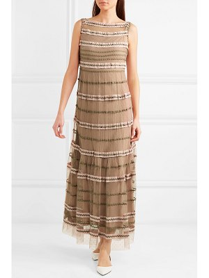 Red Valentino rickrack-trimmed point d'esprit tulle maxi dress