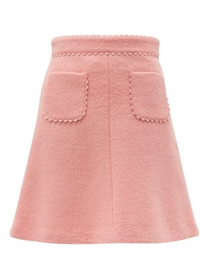 Red Valentino scallop trimmed wool blend bouclé mini skirt