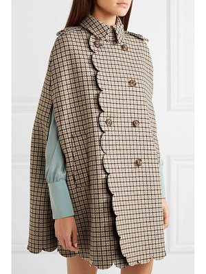 Red Valentino scalloped checked wool-blend cape
