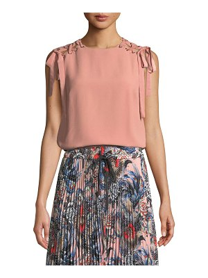 Red Valentino Whipstitched Sleeveless Crepe Satin Top w/ Lace-Up Shoulders