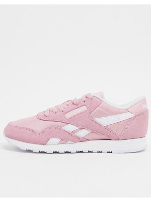 Reebok classic nylon trainers in pink