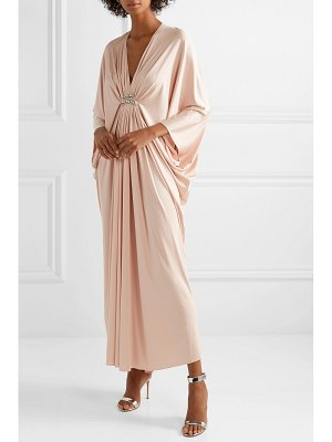 Reem Acra draped embellished silk-jersey maxi dress