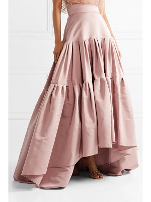 Reem Acra tiered silk-faille maxi skirt