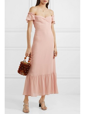 REFORMATION butterfly off-the-shoulder tiered crepe dress
