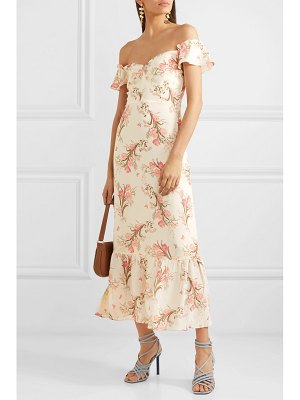 REFORMATION butterfly off-the-shoulder tiered floral-print crepe dress