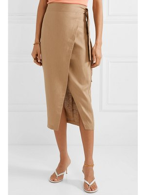 REFORMATION florence linen wrap midi skirt