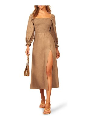 REFORMATION gitane long sleeve smocked linen midi dress