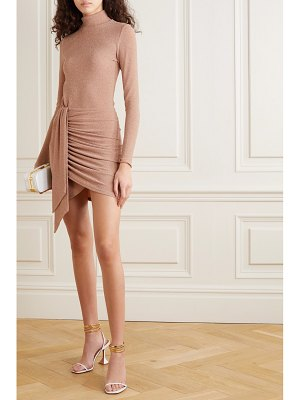 REFORMATION paprika wrap-effect metallic stretch-jersey mini dress