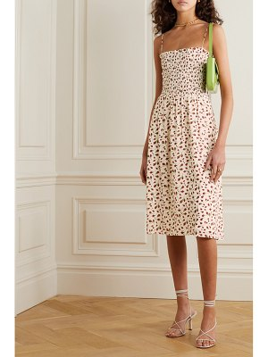 REFORMATION sable shirred floral-print georgette midi dress
