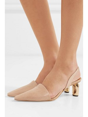 Rejina Pyo conie lizard-effect leather slingback pumps