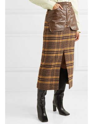 Rejina Pyo maggie checked wool and faux leather midi skirt
