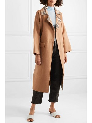 Rejina Pyo meryl convertible paneled checked wool-blend coat