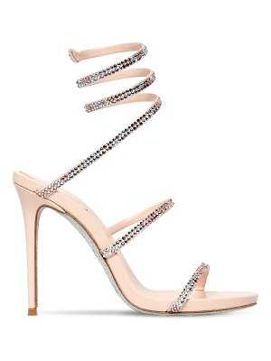 Rene Caovilla 105mm snake swarovski satin sandals