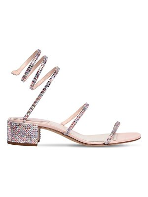 Rene Caovilla 40mm snake swarovski satin sandals