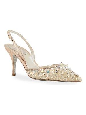 Rene Caovilla 75mm Lace & Crystal Slingback Pumps