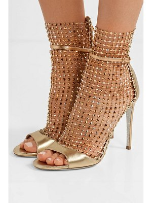 Rene Caovilla crystal-embellished mesh and metallic leather sandals