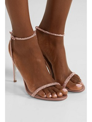 Rene Caovilla crystal-embellished satin and metallic leather sandals