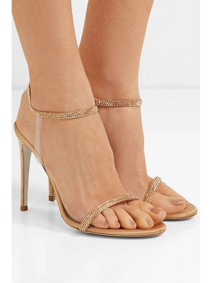 Rene Caovilla crystal-embellished satin and pvc sandals