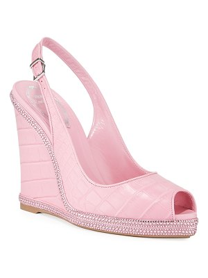 Rene Caovilla Crystal-Trimmed Alligator Wedge Sandals