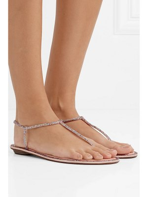 Rene Caovilla diana crystal-embellished leather and satin sandals