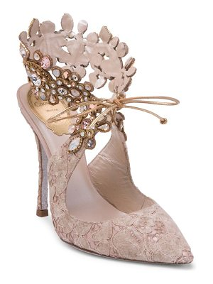 Rene Caovilla embellished ankle lace pump