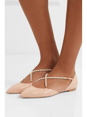 Rene Caovilla embellished patent-leather point-toe flats