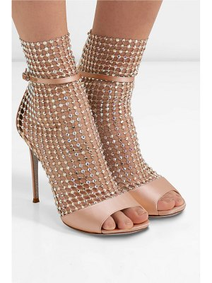 Rene Caovilla galaxia crystal-embellished mesh and satin sandals