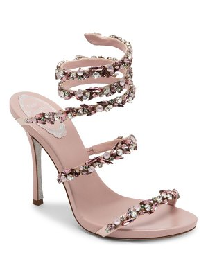 Rene Caovilla jewel satin ankle-wrap sandals