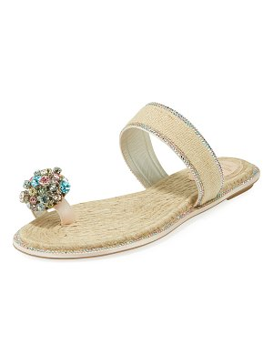 Rene Caovilla Jeweled Flat Toe-Ring Slide Sandals