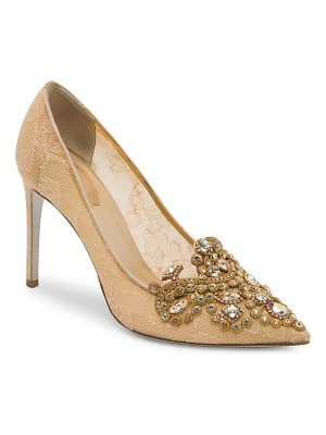Rene Caovilla multi stone lace pumps