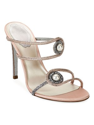 Rene Caovilla Pearly Embellished High-Heel Satin Sandals
