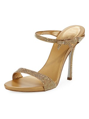 Rene Caovilla Strass Metallic Slide Sandals