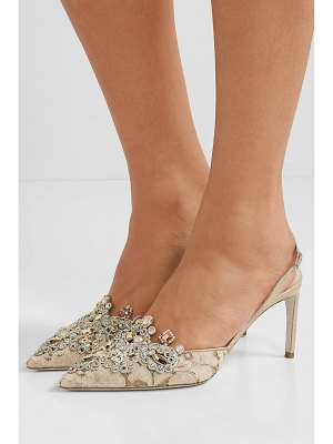 Rene Caovilla veneziana embellished lace and satin slingback pumps