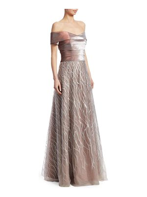 RENE RUIZ Off-The-Shoulder Embellished Gown