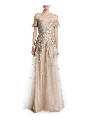 Rene Ruiz Off-the-Shoulder Gown w/ Tulle & Floral Appliqué