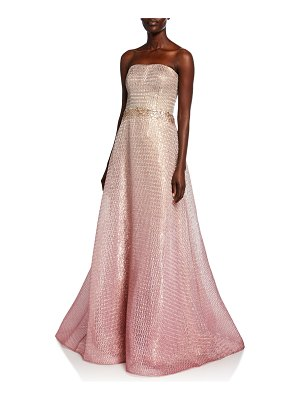 Rene Ruiz Strapless Ombre Bustier A-Line Gown