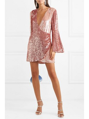 Retrofête christine wrap-effect two-tone sequined satin mini dress