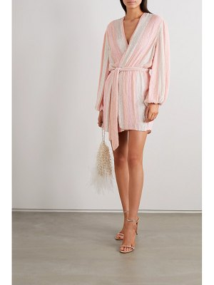Retrofête gabrielle velvet-trimmed striped sequined chiffon wrap mini dress
