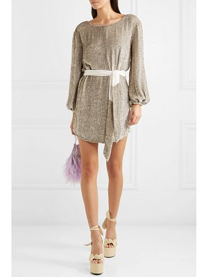 Retrofête grace velvet-trimmed sequined satin mini wrap dress