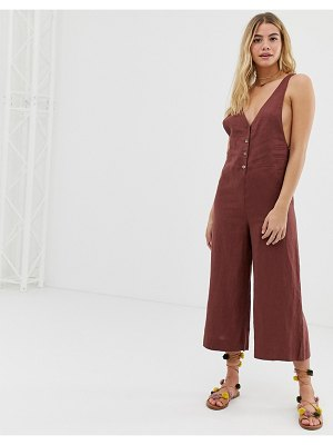 Rhythm amalfi linen culotte leg jumpsuit in ginger-brown
