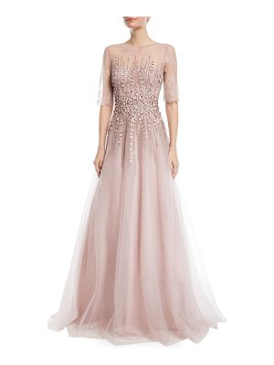 Rickie Freeman for Teri Jon Beaded Lace & Tulle Gown