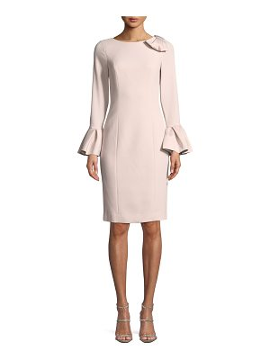 Rickie Freeman for Teri Jon Bell-Sleeve Crepe Sheath Dress