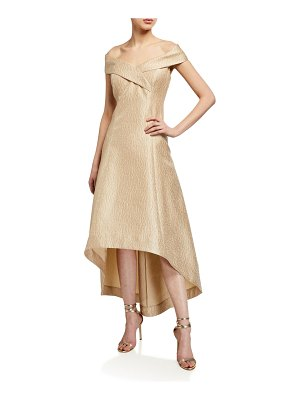 Rickie Freeman for Teri Jon Cuffed Off-the-Shoulder High-Low Jacquard Gown