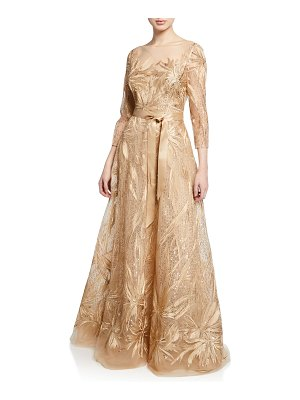 Rickie Freeman for Teri Jon Embroidered Lace & Sequin 3/4-Sleeve Illusion Gown