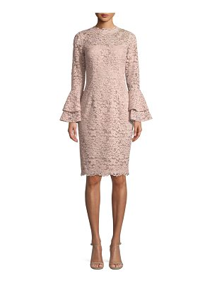 Rickie Freeman for Teri Jon Lace Bell-Sleeve Sheath Cocktail Dress
