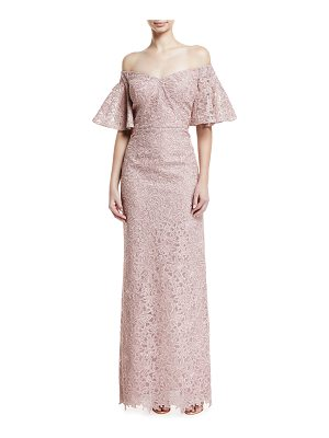 RICKIE FREEMAN FOR TERI JON Lace Off-The-Shoulder Flutter-Sleeve Gown