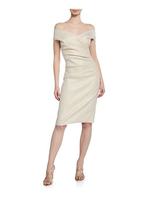 Rickie Freeman for Teri Jon Metallic Jacquard Off-the-Shoulder Short-Sleeve Draped Cocktail Dress