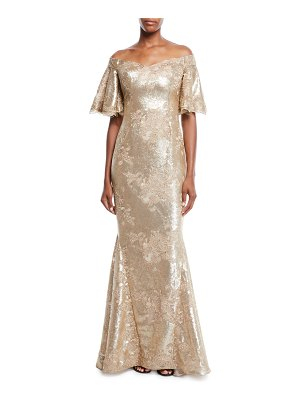 Rickie Freeman for Teri Jon Off-the-Shoulder Bell-Sleeve Stretch-Sequin Evening Gown
